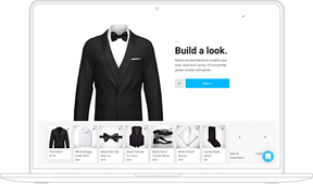 screenshot of Menguin's suit and tuxedo builder web page with filters showing black suits