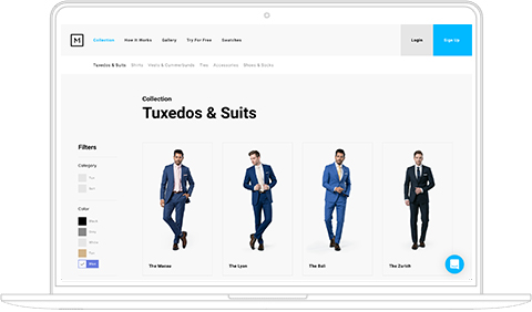 Screenshot of the Menguin collection page featuring blue modern and slim fits of suits and tuxedos