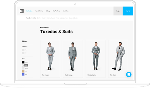 screenshot of Menguin's suit and tuxedo builder web page with filter showing grey suits
