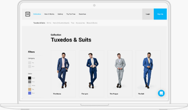 screenshot of Menguin website featuring suit and tuxedo choices