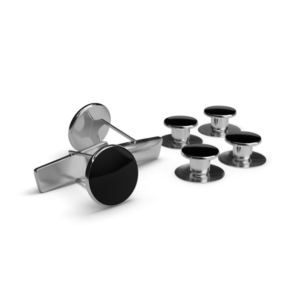 Black and Silver Cufflinks and Studs