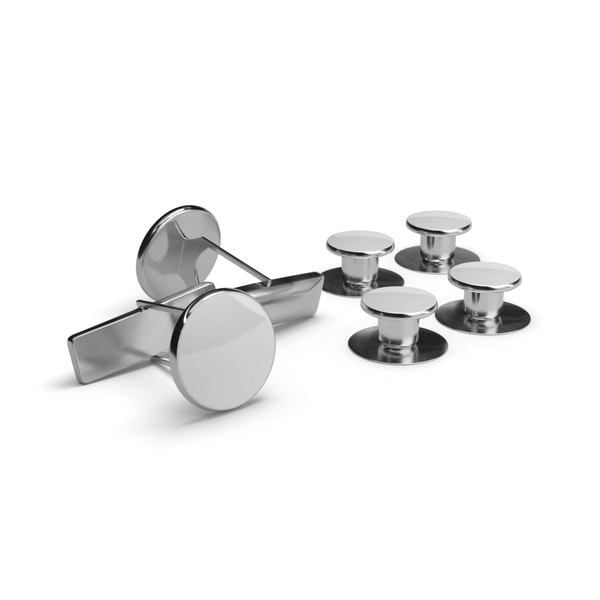 White and Silver Cufflinks and Studs