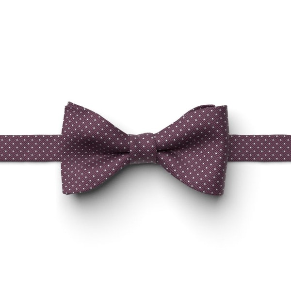 Plum and White Pin Dot Pre-Tied Bow Tie