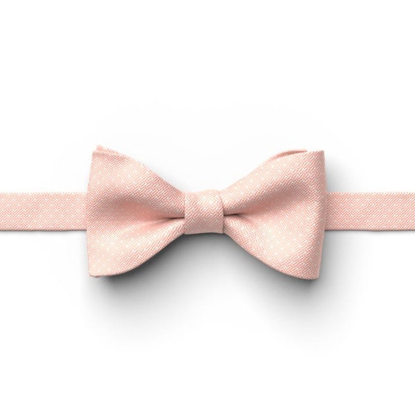 Bellini and White Pin Dot Pre-Tied Bow Tie
