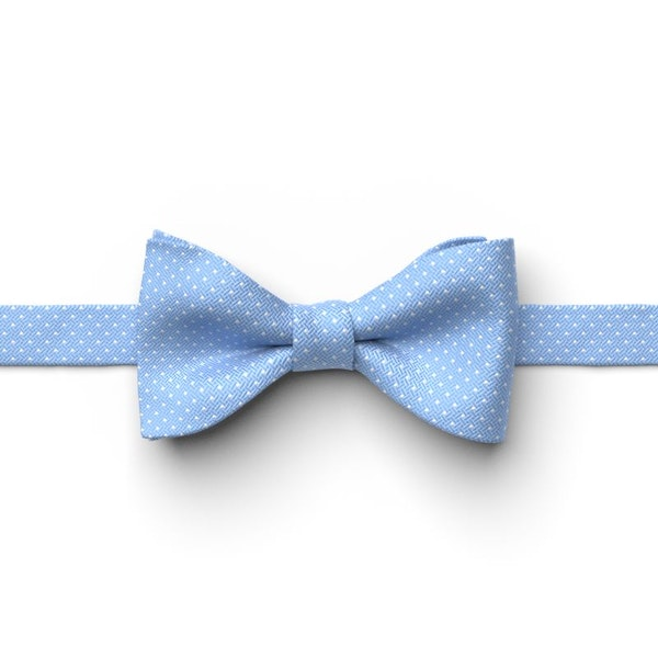 Cornflower and White Pin Dot Pre-Tied Bow Tie