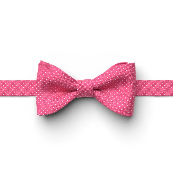 Begonia and White Pin Dot Pre-Tied Bow Tie