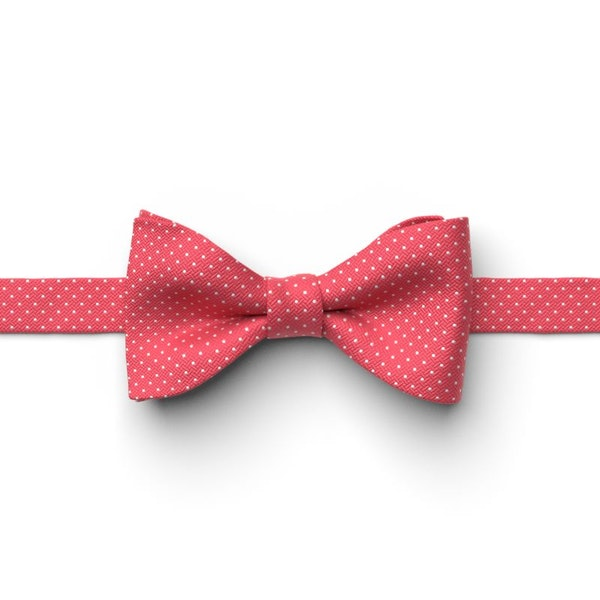 Watermelon and White Pin Dot Pre-Tied Bow Tie
