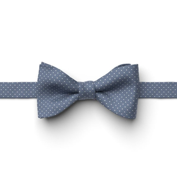 Steel Blue and White Pin Dot Pre-Tied Bow Tie