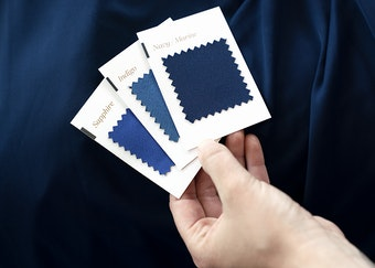 Blue fabric quality swatch card GenerationTux