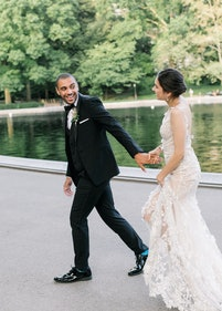 Groom in Black Shawl Lapel Tuxedo with Bride