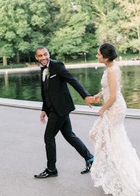 Groom in Black Shawl Lapel Tuxedo with Bride