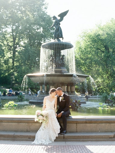 Bride and Groom in Black Tuxedo at Park