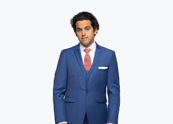Paul Rodriguez in Generation Tux Blue Suit with Skateboard