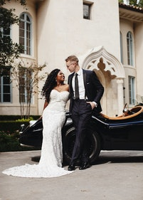 Bride with Groom in Midnight Blue Tuxedo