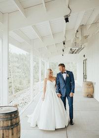 Bride with Groom in Mystic Blue Tuxedo