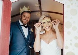 Groom in Blue tuxedo with bride