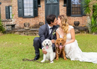 Groom in Charcoal Gray Tuxedo with Bride and pet dogs