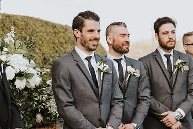 Groom and Groomsmen in Dark Grey Tuxedo GT