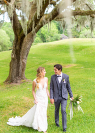 Bride and Groom in Dark Grey Generation Tux Tuxedo