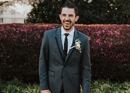 Happy Groom in Grey Tuxedo Generation Tux