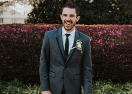 Happy Groom in Grey Tuxedo Generation Tux