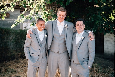 Groomsmen in Light Grey Tuxedo Generation Tux