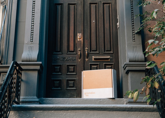 Generation Tux delivery box on New York City front porch