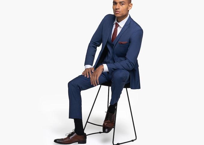 Generation Tux model in blue wedding suit
