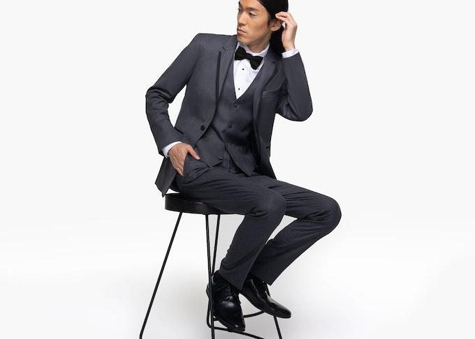 Generation Tux groom in grey tuxedo rental