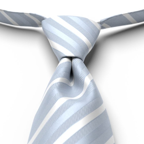 Ice Blue Striped Pre-Tied Tie