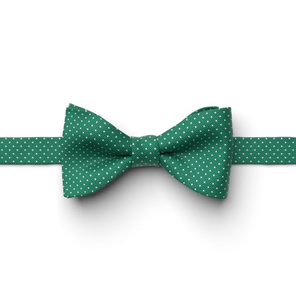 Emerald Pin Dot Pre-Tied Bow Tie