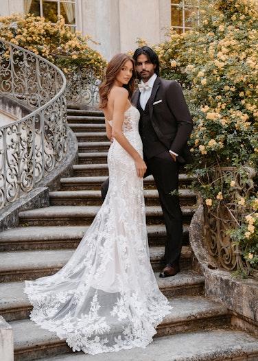 Bride and groom in Allure Dark Brown Suite