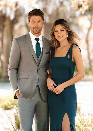 Groomsman in Allure Beige Suit with bridesmaid