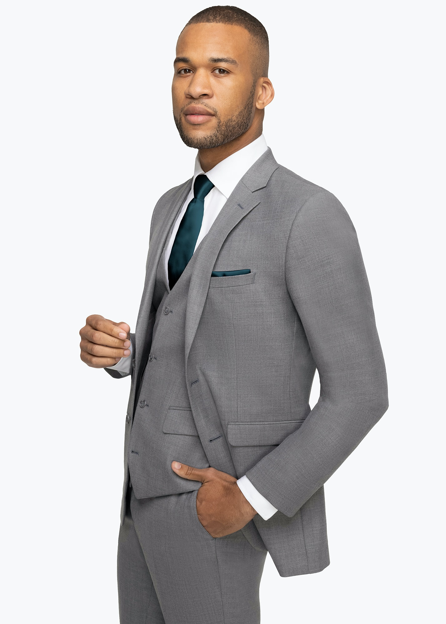 Model in Allure Light Gray Suit
