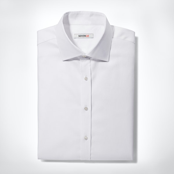 WhiteTwill  Spread Collar Shirt