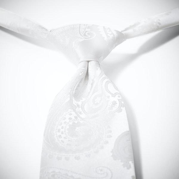 White Paisley Pre-Tied Tie