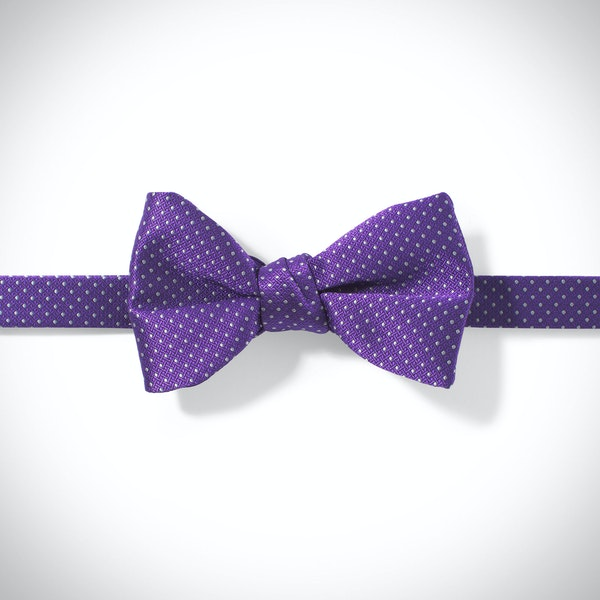 Viola and White Pin Dot Pre-Tied Bow Tie
