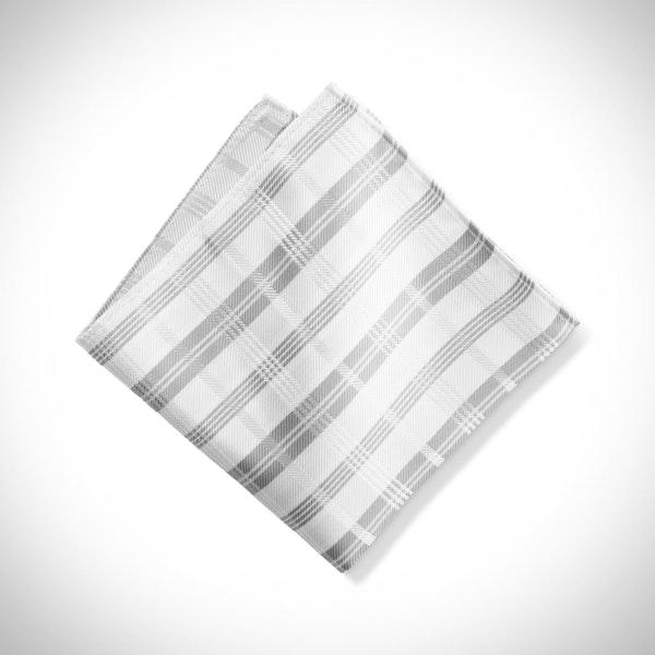 White Plaid Pocket Square