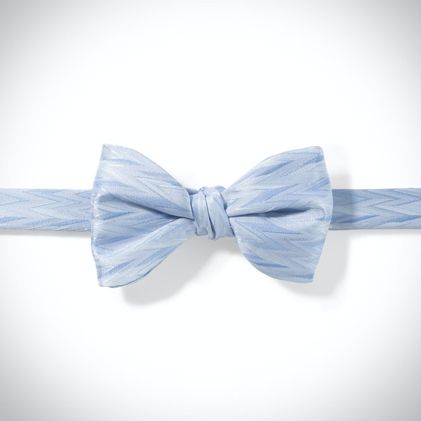 Ice Blue Zig Zag Pre-Tied Bow Tie
