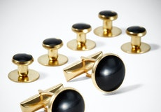 Black and Gold Cufflinks and Studs
