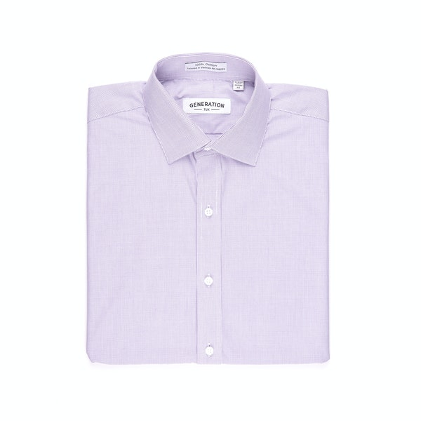 Purple Microcheck Shirt