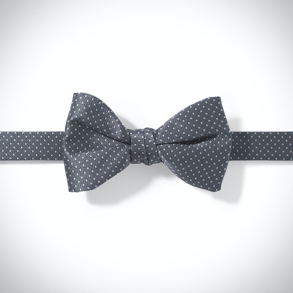 Pewter and White Pin Dot Pre-tied Bow Tie