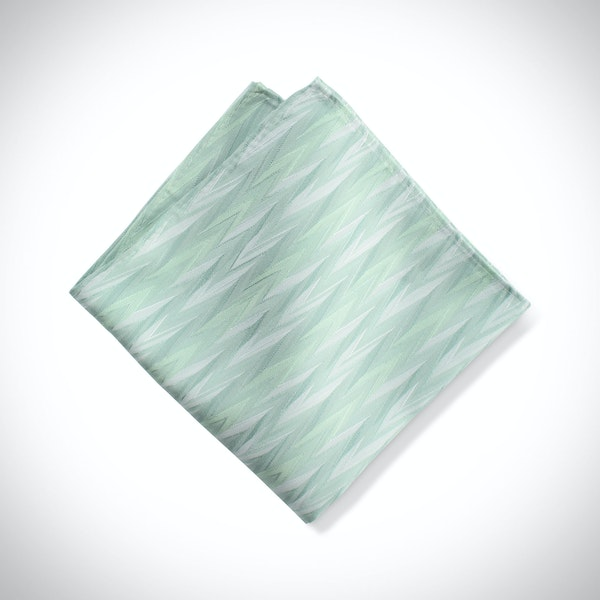 Mint Zig Zag Pocket Square