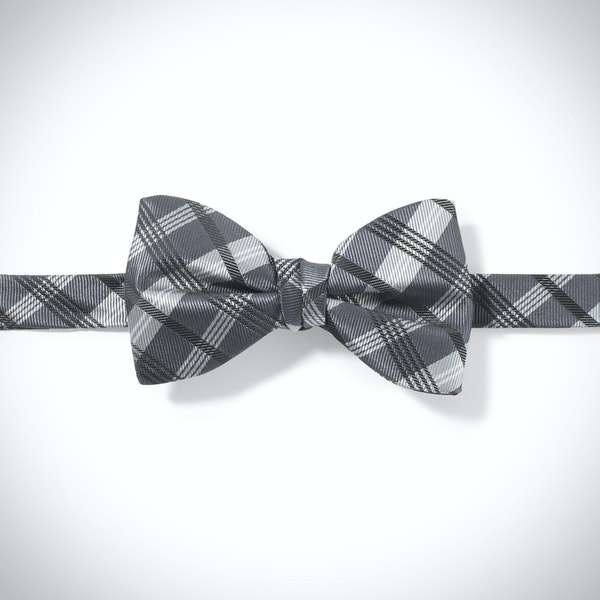 Pewter Plaid Pre-Tied Bow Tie