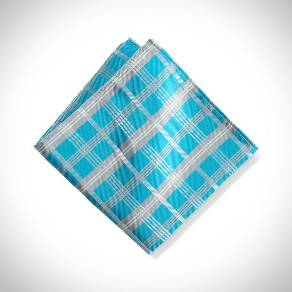 Malibu-Aqua Plaid Pocket Square