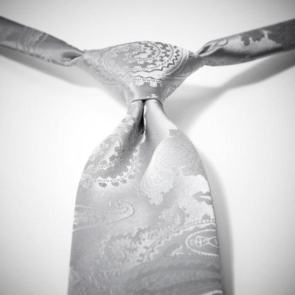 Platinum Paisley Pre-Tied Tie