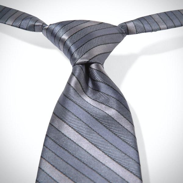 Pewter Striped Pre-Tied Tie