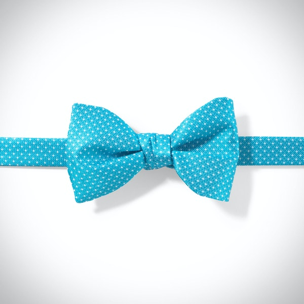 Malibu-Aqua and White Pin Dot Bow Tie