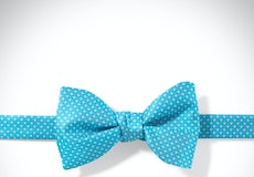 Malibu and White Pin Dot Bow Tie