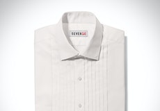 Pleated Ivory Spread Collar Shirt